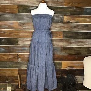 Gap strapless chambray maxi dress NWT